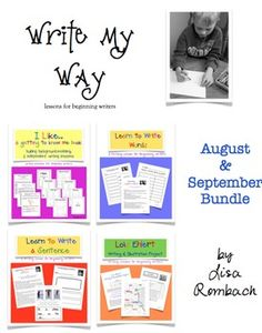 Write My Way... lessons for beginning writers  August Sept Bundle (Getting to Know Me book, Learn to Write a Word, Learn to Write a Sentence, Lois Ehlert Writing & Illustration Project) $