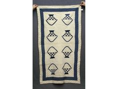 """19th c. Quilt: """"Hired Man's"""" style. c 1880 , indigo and white , found in Pennsylvania."""