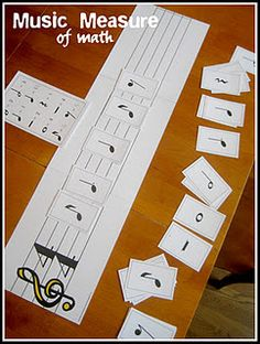 Increase your child's music vocabulary by teaching him/her the notes and rests. Then challenge them to see how many different combinations will add up to 4 beats in a measure! Music + Math = Magic! (free printables)