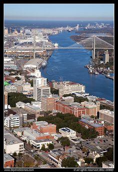 Aerial of Downtown Savannah, Georgia along the Savannah River