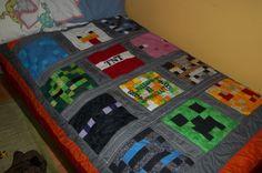 monkey quilts, minecraft birthday, bedroom idea, person minecraft, bedroom sets, kid stuff, minecraft room, quilt idea, minecraft quilt blocks
