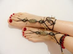 tribal sandals beach wedding gold anklet hippie by theflowerdesign