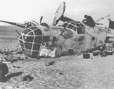 B-24 Liberator - Lady Be Good, running low on fuel, Pilot 1st Lt Hatton shut down 3 of the 4 engines to conserve gasoline, but in the end the fliers were forced to bail out. They did not try to land the Lady with its radio and precious supply of food & water because they thought they were over the sea. Eight of the 9 men came down about 15 miles from the crash site but did not search for the plane. The 9th man, bombardier 2Lt Lt John S. Woravka did not join up & his body was never found.