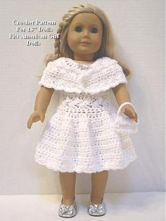 "SP30 Crochet Pattern Shimmering Party Dress Fits American Girl Dolls 18"" Dolls 