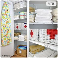 Hall linen closet organization ideas