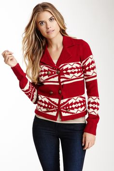 Flying Tomato Printed Sweater Jacket