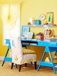 Bring an industrial chic look to your home office with a desk made from metal sawhorses! More DIY furnitutre Transformations: http://www.bhg.com/decorating/makeovers/furniture/diy-furniture-transformations/