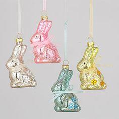 Mercury Glass Bunny Ornaments, Set of 4