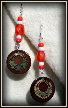 Tangerine and Shell Disk Earrings by revekakosmimata on Etsy, $10.00