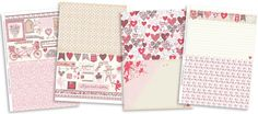 Hearts! Bunting! A bicycle made for two! Print out these FREE patterned papers and make a card for your valentine.