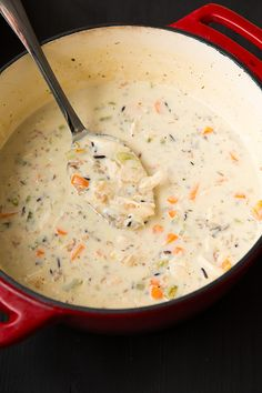 Creamy Chicken and Wild Rice Soup - my husband said this is his new favorite soup! So delicious!