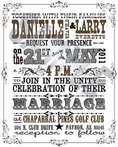 Western Wedding Invite - You Print. $25.00, via Etsy.
