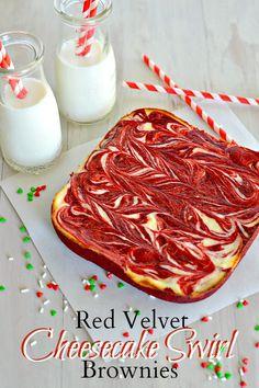Red Velvet Cheesecake Swirl Brownies sweet, red velvet brownie cheesecake, cheesecakes, cheesecak swirl, red velvet cheesecake, swirl browni, swirls, bar, dessert