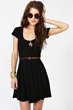 simple black with a leopard belt