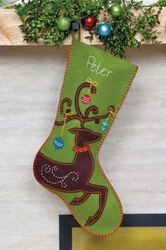 Ornate Deer Christmas Stocking - Felt Applique Kit