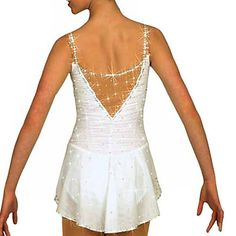 YES YES YES YES YES YES WHERE HAS THIS BEEN ALL MY LIFE?!  V-Back Flash Drill Sleeveless White Ice Skating Dress – USD $ 145.99