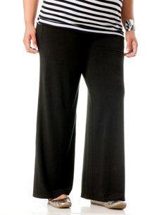 Motherhood Maternity: Plus Size Secret Fit Belly(tm) Jersey Knit Ruched Wide Leg Maternity Pants
