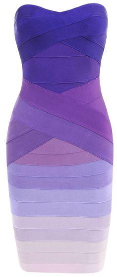 Clothing : Bandage Dresses : 'Stacie' Purple Gradient Strapless Bandage Dress