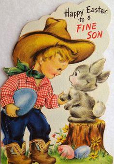 105 Cowboy with A Friendly Bunny Vintage Easter Die Cut Greeting Card | eBay