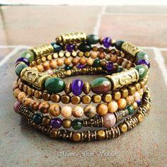 Boho Gypsy Bracelet Wrap Around Bracelet Beaded by mamisgemstudio