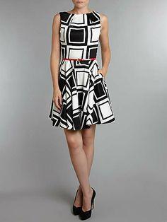 Big square flared belted dress, Closet. Cute, cute, cute!