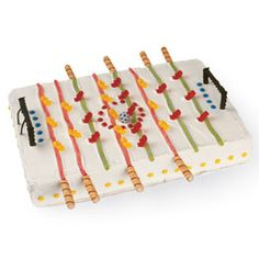 Foosball Fun Cake - love how they used  Pirouette cookies