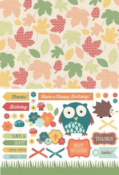 FREE printable woodland fall paper and DIY stickers: My Owl Barn