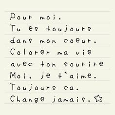 """""""For me, You are always in my heart. Color my life with your smile. Me, I love you. Always. Never change"""" <3"""