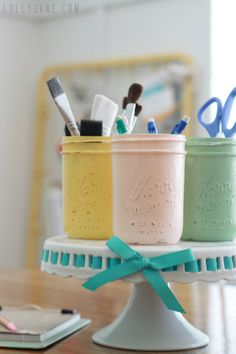DIY distressed mason jar storage