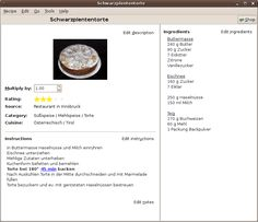 Gourmet Recipe Manager (Linux and Windows) Screenshot of Recipe Card view