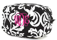 Damask Quilted Mini Cosmetic Bag TinyTulip.com We're All About Personalization - Gifts Monogram Embriodery