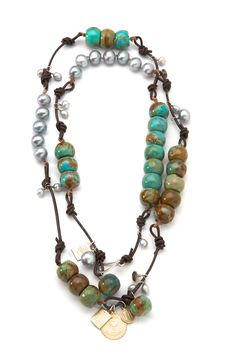 ❥ turquoise, leather and pearls