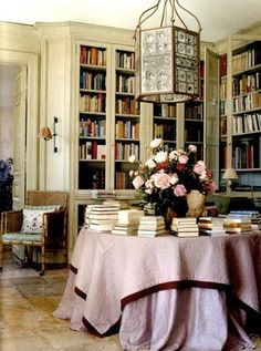 layered table cloths, roses, soft pinks, library table