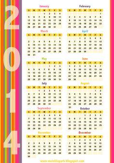 Free printable 2014 calendars in happily colored border design - ausdruckbarer Kalender 2014 - freebie   MeinLilaPark – DIY printables and downloads