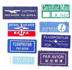 vintage air mail labels
