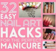 There are a few decent ideas to try out of this list.... 32 Easy Nail Art Hacks