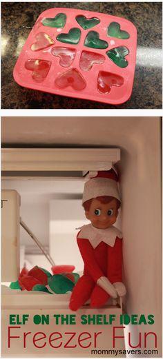 Elf on the Shelf Ideas:  Fun in the freezer #elfontheshelf