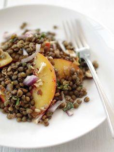 Lentil Peach Salad, Wholeliving.com #meatlessmonday