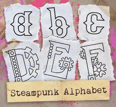 Steampunk Alphabet (Design Pack) design (UTPH1151) from UrbanThreads.com alphabet design, embroideri idea, embroideri brillianc, machin embroideri, stitch embroideri, steampunk typography, embroideri tutori, steampunk treasur, embroidery designs