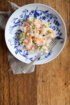 lemony risotto w/ shrimp and peas • five and spice