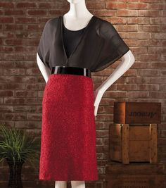 Create this #DIY look: black chiffon blouse and a lace straight fitted skirt!