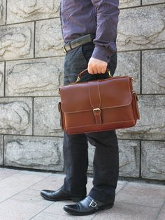 "Handmade Leather Briefcase / Messenger / 11"" MacBook or 12"" Laptop Bag in reddish brown"