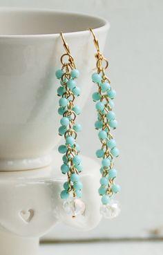Fringe Chain EARRINGS Light Blue Beaded Crystal
