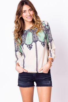lace print blouse / a-thread