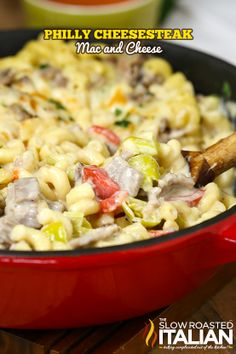 One Pot Philly Cheesesteak Mac and Cheese in 25 Minutes