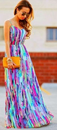 Multi color maxi. #summer #fashion