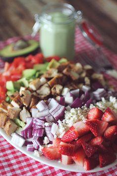 California Cobb Strawberry Salad with Avocado Dressing