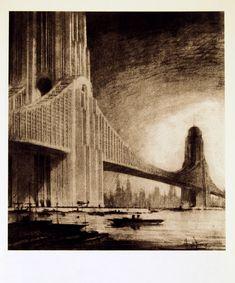 Apartments on Bridges, 1925.  Hugh Ferriss