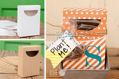 """The best gifts are the cute little ones, don't you think? The """"get well soon"""" from a friend or the """"congratulations"""" from your boss. The """"you're the best"""" from your bestie and """"just because"""" from your husband. These boxes are perfect for all the """"thinking of you"""" thoughts that you want to send out. And they take zero effort (except that you have to put something inside of them). Boxes have a cellophane window so that the content of the boxes will not fall out! pickyourplum.co #treatboxes"""