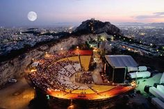open-air theatre of Lykavittos hill, each summer hosts musical, theatrical performances in evenings, Greece